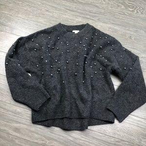H&M Beaded Grey Knit Oversize Sweater